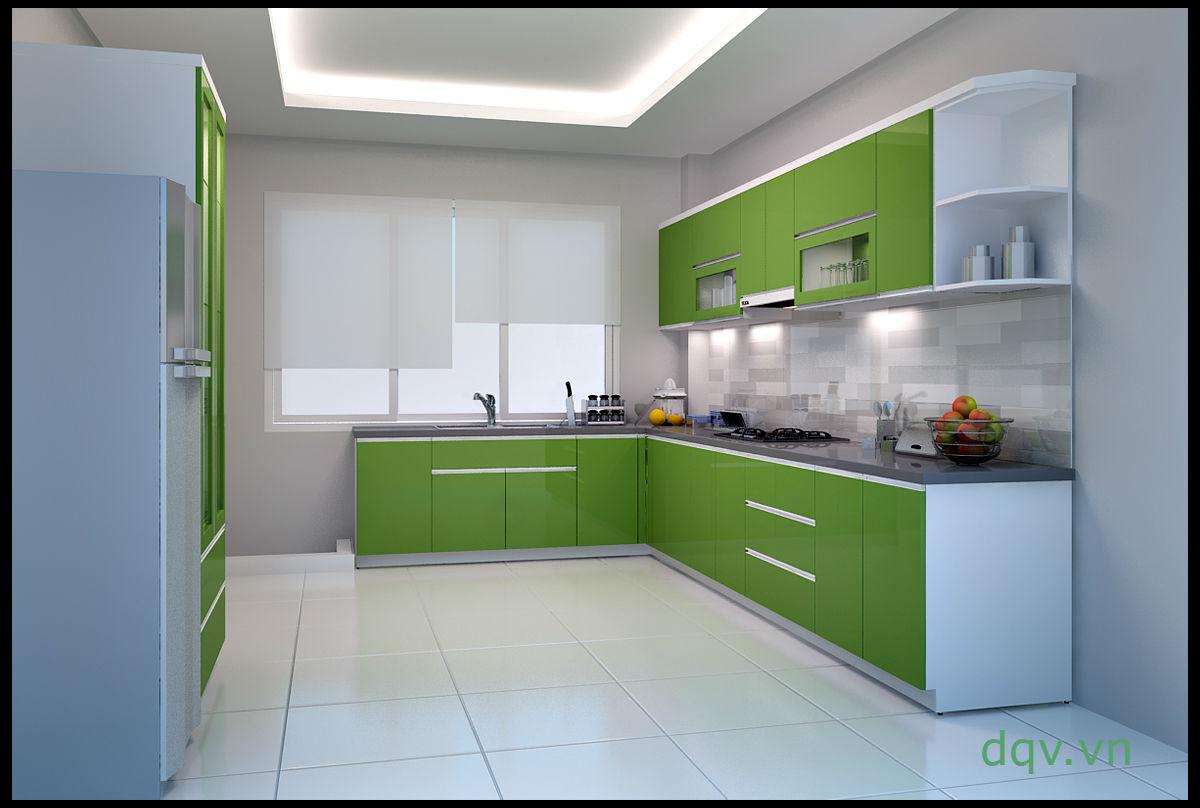 kính màu ốp bếp màu xanh nõn chuối