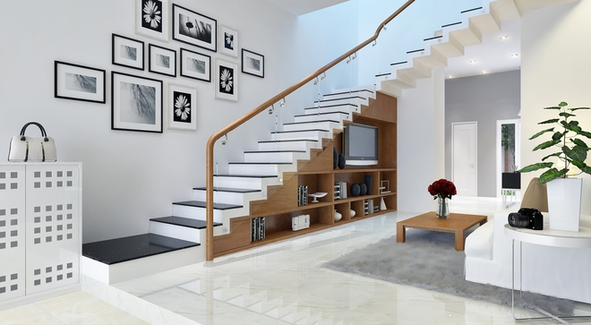 Cầu thang kính tay vịn gỗ#1