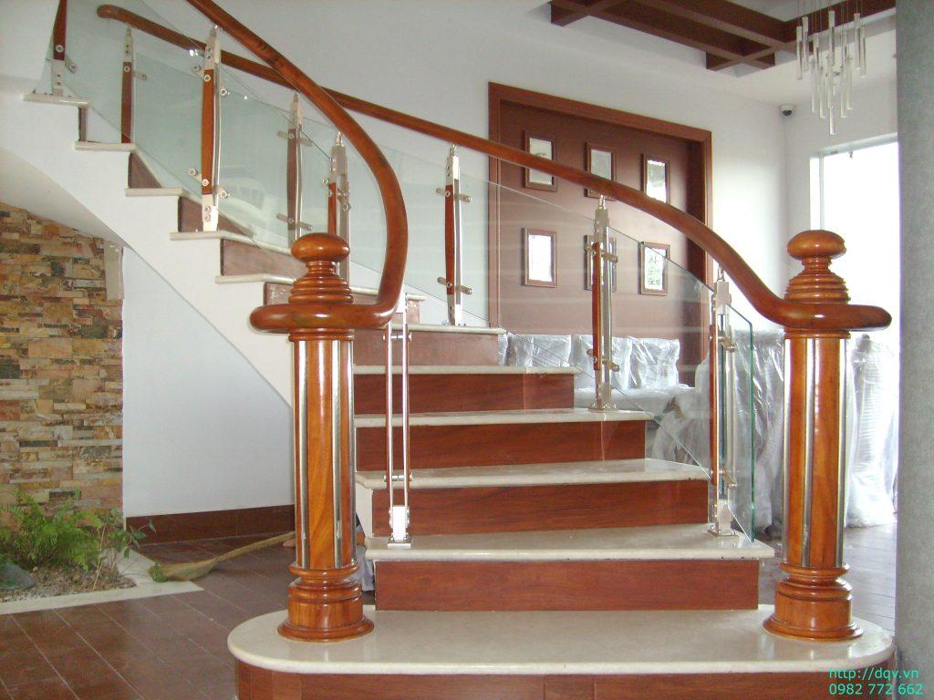 Cầu thang inox kính#14
