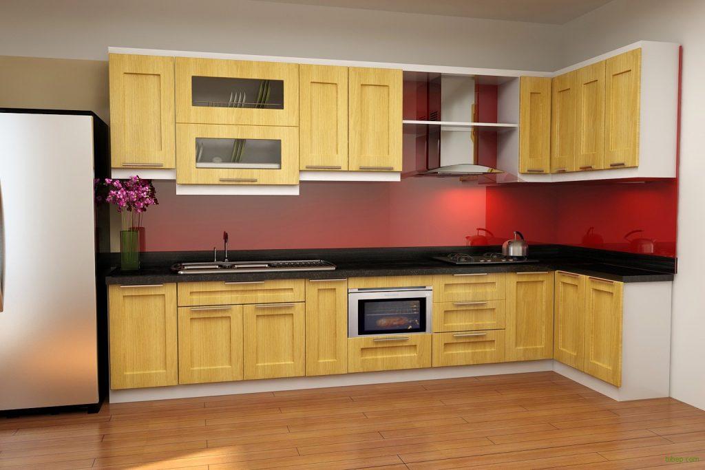 Kính màu ốp bếp màu đỏ hồng