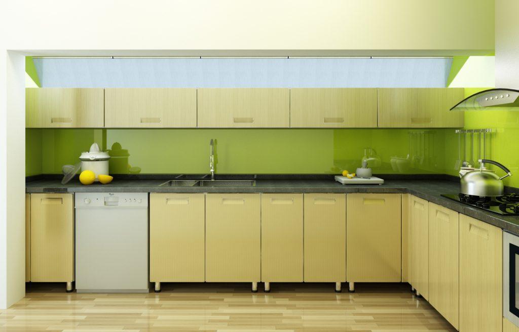 Kính màu ốp bếp màu vàng chanh