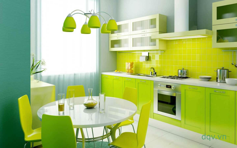 kính màu ốp bếp màu vàng tranh