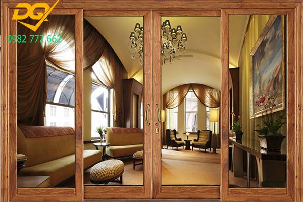 Mẫu cửa nhôm kính cao cấp màu gỗ không khác gì mấy cửa gỗ nhờ được phủ sơn vân gỗ