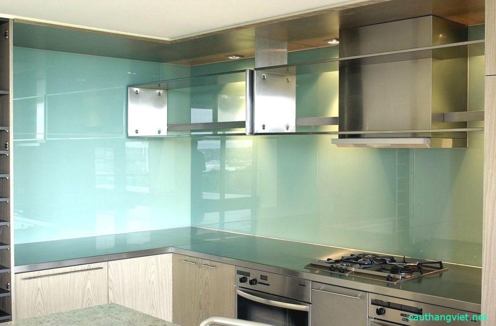 kính ốp bếp màu trắng xanh #2