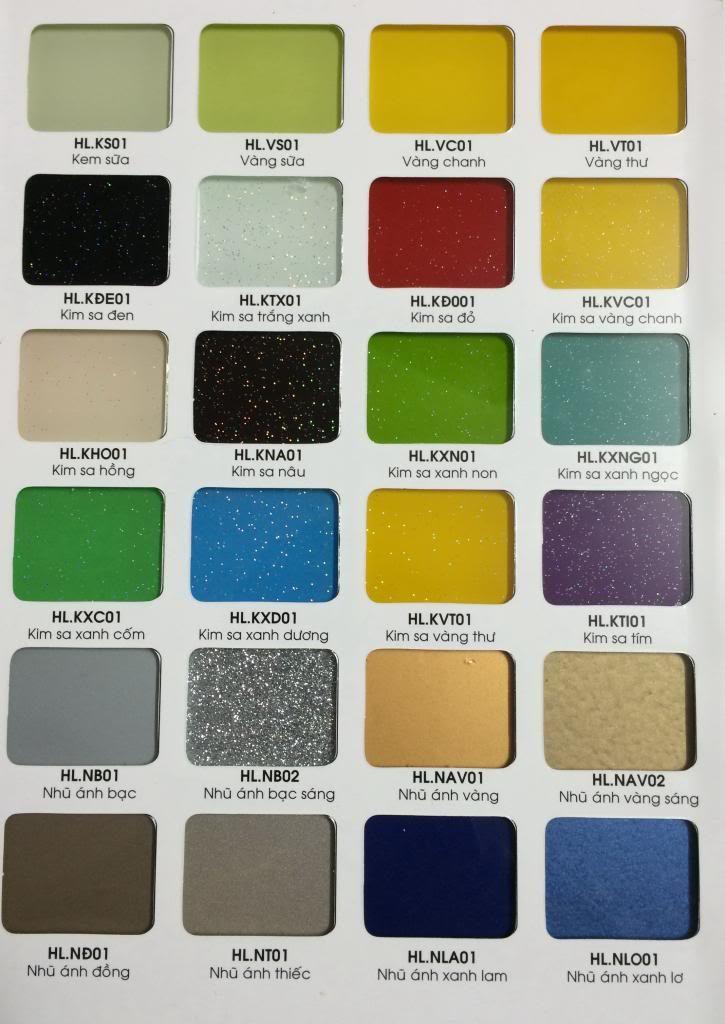 Bảng màu kính ốp bếp#2