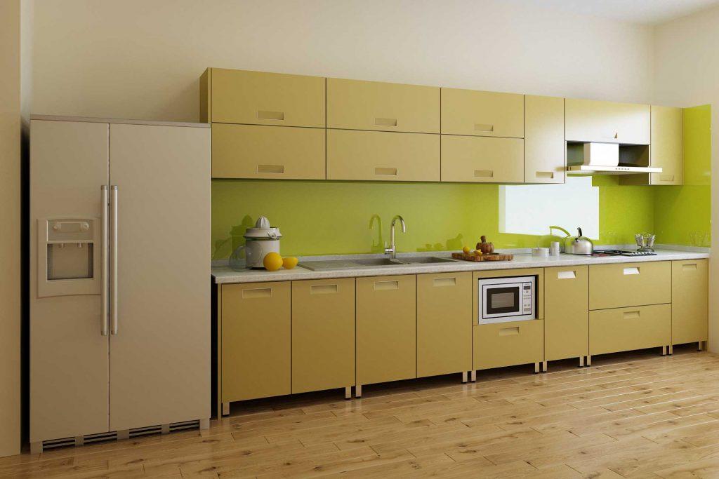 Kính màu ốp bếp màu xanh ngọc