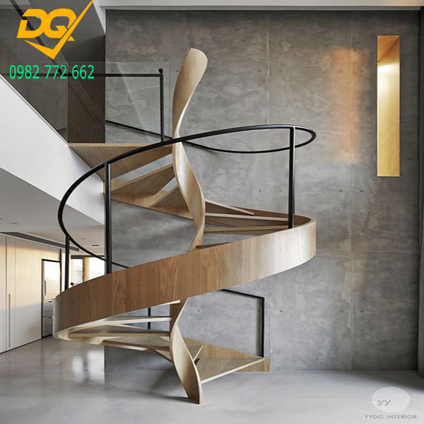 Mẫu cầu thang xoắn ốc gỗ - 4
